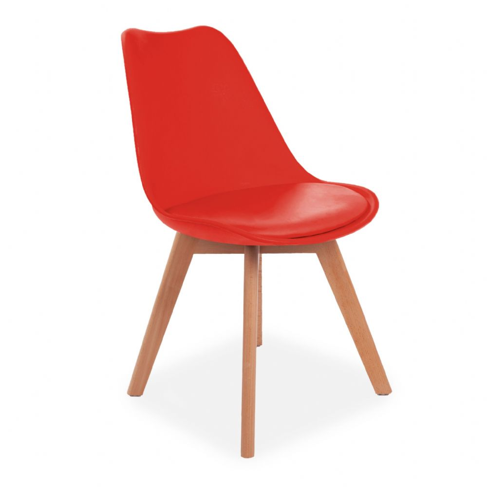 4x Tulip Pyramid Dining Chairs With Beech Legs, Red